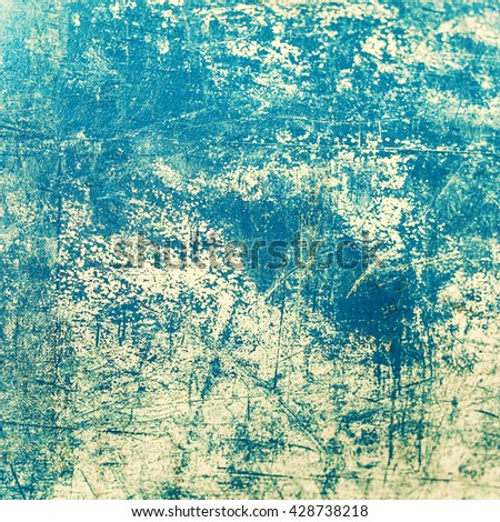 Abstract Grain blue paint wall background or texture with scratches