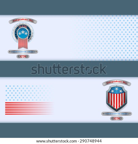 Abstract graphic, design web banner; Header layout template; Set of banners design with badge, metallic shield and national flag colors background for fourth of July, American Independence Day   - stock photo