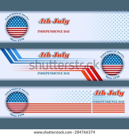 Abstract graphic, design web banner; Header layout template; Set of banners design with stars on national flag colors background for fourth of July, American Independence Day   - stock photo