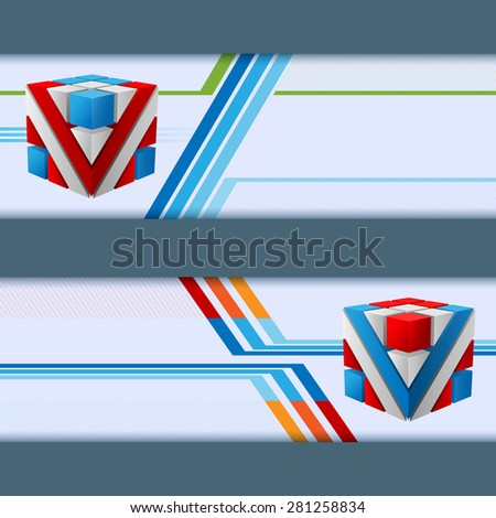 Abstract graphic, design web banner; Header layout template; Set of banners with colorful cubes on linear geometric design and space for text.  - stock photo