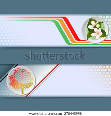 Abstract graphic, design web banner; Header layout template; Set of banners with colorful linear design, bouquet of flowers, generic tree and space for text.  - stock photo