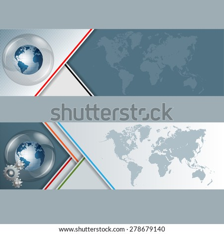 Abstract graphic, design web banner; Header layout template; Set of banners with earth globe in glass button/sphere,cogwheels and world map on geometric design and space for text.  - stock photo