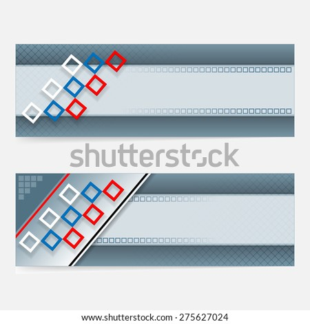 Abstract graphic, design web banner; Header layout template; Set of banners with squares and space for text.  - stock photo