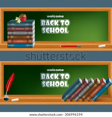 Abstract graphic, design web banner, header; Set of banners with primary subject matter, school books, feather in ink bottle, chalk, pencil, apple and flower - stock photo