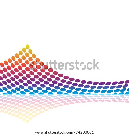 Abstract graphic equalizer or audio waveform illustration made up of colorful circles.