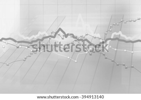 Abstract gray background of stock charts computer diagram - stock photo