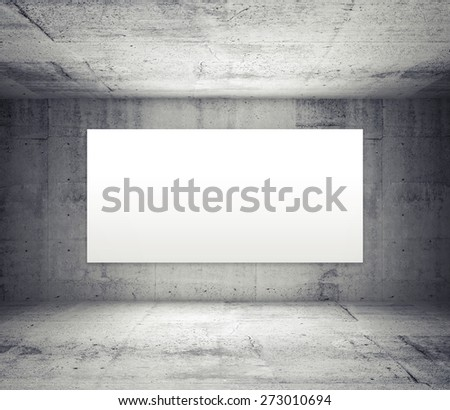 Abstract gray interior of empty room with concrete walls and illuminated wide white screen - stock photo