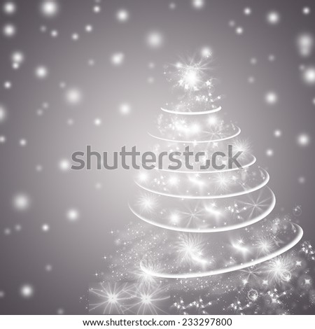 Abstract gray winter holidays background/greeting card, with Christmas tree. - stock photo