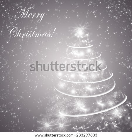Abstract gray winter holidays background/greeting card, with Christmas tree and text Merry Christmas.