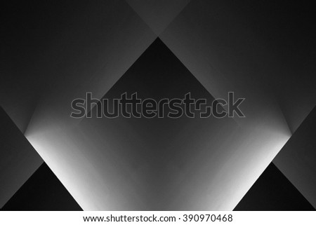 Abstract grayscale interior composition with backlight in chiaroscuro style obtained by double exposure of scattering screens. Play of light and shadows. - stock photo