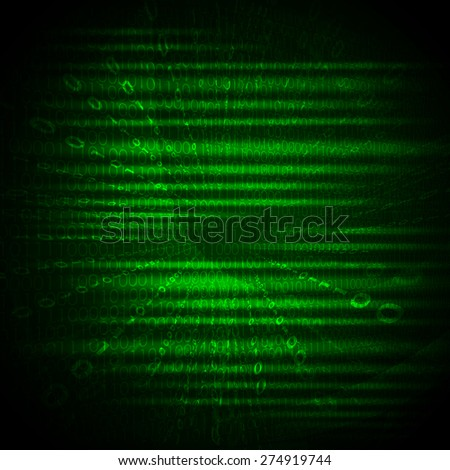 Abstract green and  black background with numbers