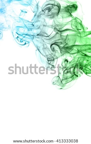 Abstract green and blue smoke on white background, Light blue background,green and blue ink background