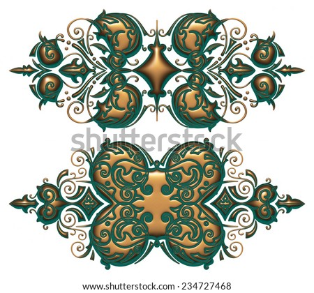 Abstract green and golden ornament design on white background.