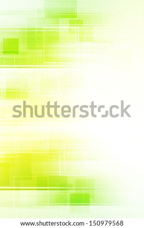 Abstract green and yellow square on white background. - stock photo