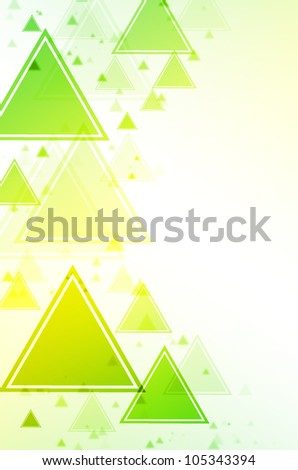 Abstract green and yellow triangle background. - stock photo