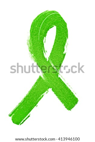 Abstract green awareness ribbon isolated on a white background - stock photo