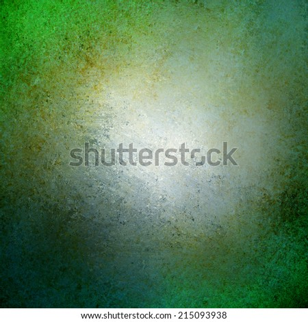 abstract green background design, border has dark green color edges of rough distressed vintage grunge texture with speckles of gold paint, pale soft opaque white center  - stock photo