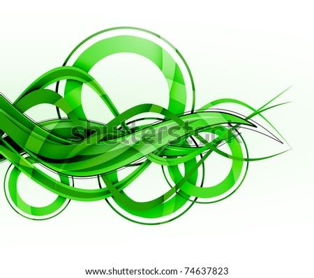 abstract green background - waves and circles - stock photo