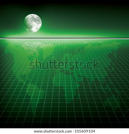 Abstract green background with earth map and moon - stock photo