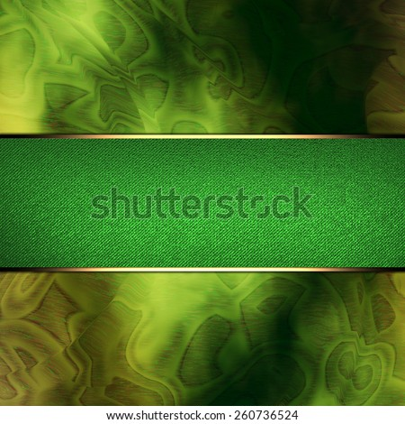 Abstract green background with green nameplate with gold trim - stock photo