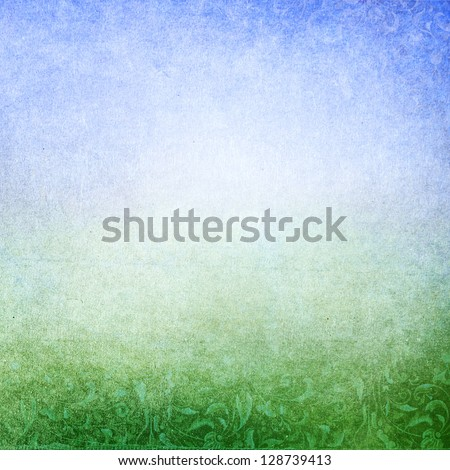 Abstract green blue background with subtle floral print. Faded central area for copy space.