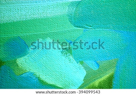 abstract green blue painting by oil on canvas,  illustration