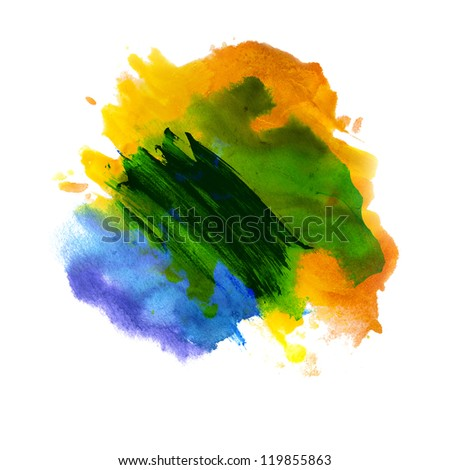 abstract green blue yellow isolated watercolor stain raster illustration