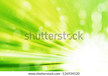 abstract green bokeh and circles background - stock photo
