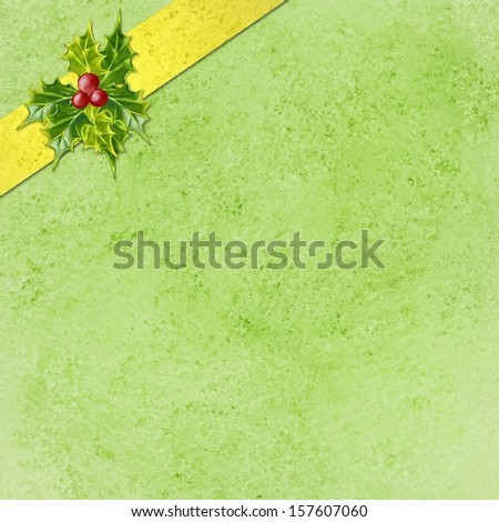 abstract green Christmas background with gold ribbon and holly design in corner, Christmas wrapped package concept, Christmas present or gift illustration, elegant holiday background layout - stock photo