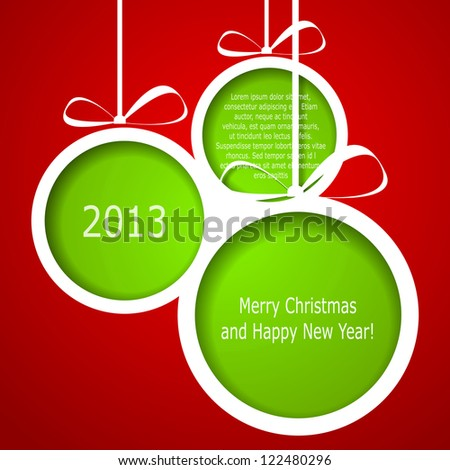 Abstract green Christmas balls cutted from paper on red background. Raster copy of vector illustration