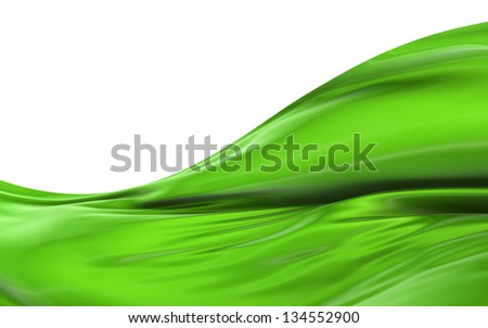 Abstract green cloth on a white background, image isolated - stock photo