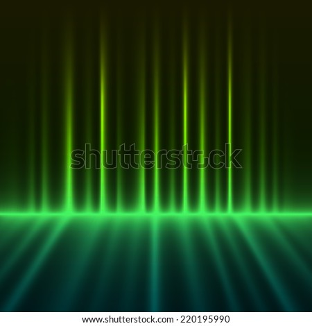 Abstract green colored aurora borealis lights background. - stock photo