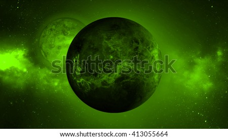 Abstract green dead planet background