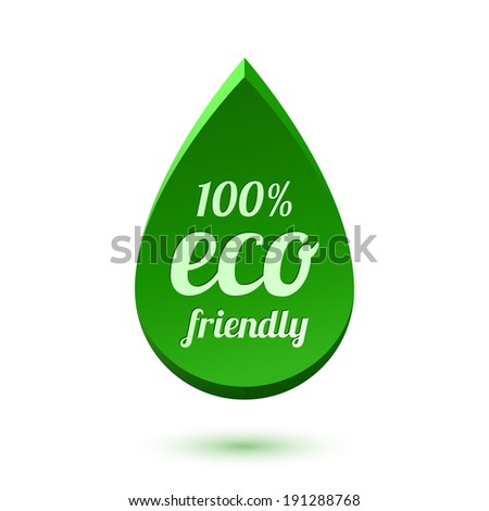 Abstract green drop, eco friendly icon - stock photo