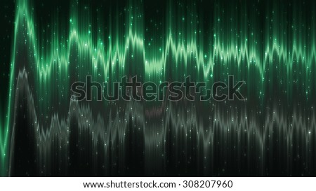 Abstract green elegant background with glitter and waves