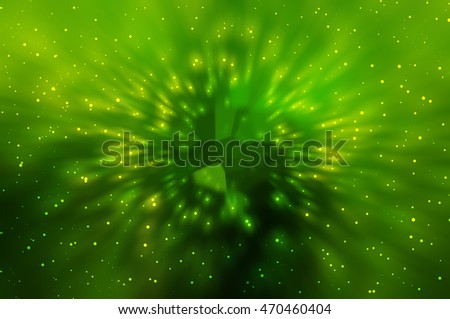 Abstract green fractal composition. Magic explosion star with particles illustration technology.