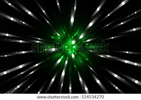 Abstract green fractal composition. Magic explosion star with particles. motion illustration.