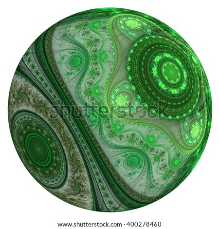 Abstract green fractal planet, digital artwork for creative graphic design - stock photo
