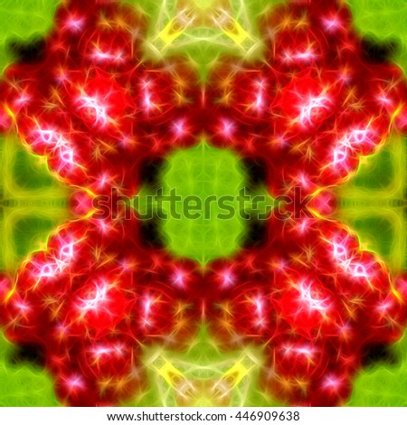 abstract green fractal with red floral pattern - stock photo