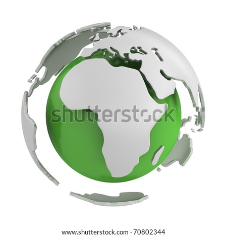 Abstract green globe, Africa part isolated on white background - stock photo