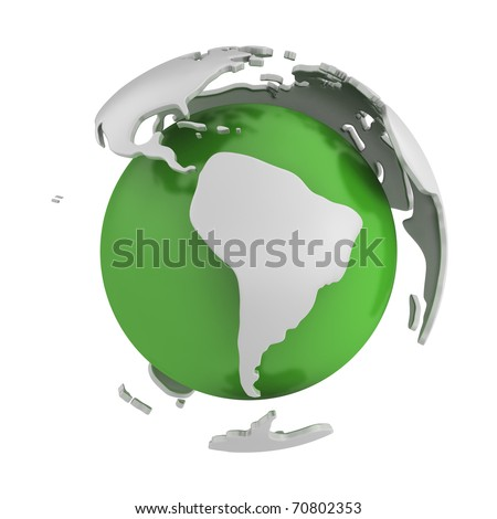 Abstract green globe, South America part, isolated on white background - stock photo