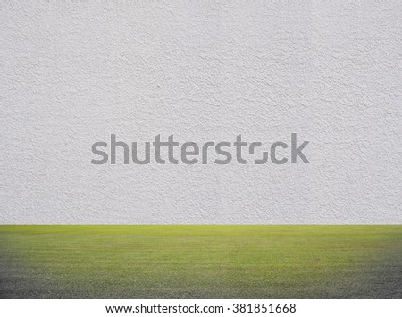 abstract Green Grass and cement wall texture for background - stock photo