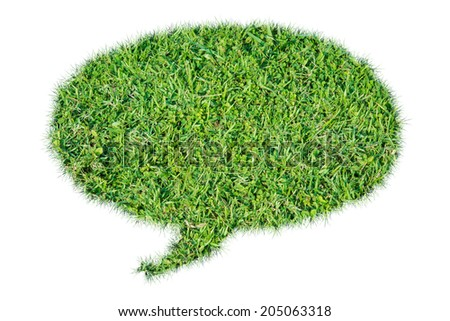 Abstract green grass bubble isolate on over white background - stock photo