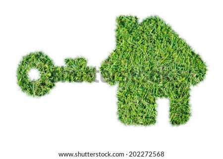 Abstract green grass house icon on over white background