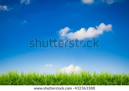 abstract green grass on blue sky background - stock photo