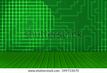 abstract green light and square wall with wooden style floor as background