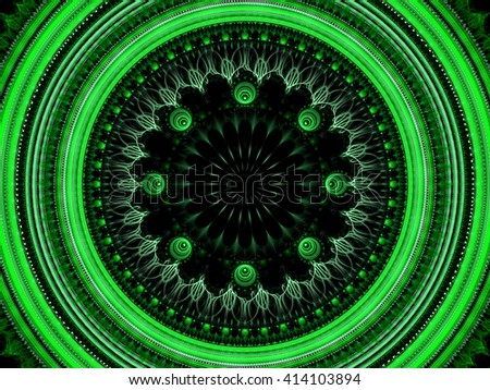 Abstract green mandala flower - computer-generated image. Fractal artwork - circle with an elegant ornament. Sacred geometry. Trendy fractal for web-design, posters, covers. - stock photo