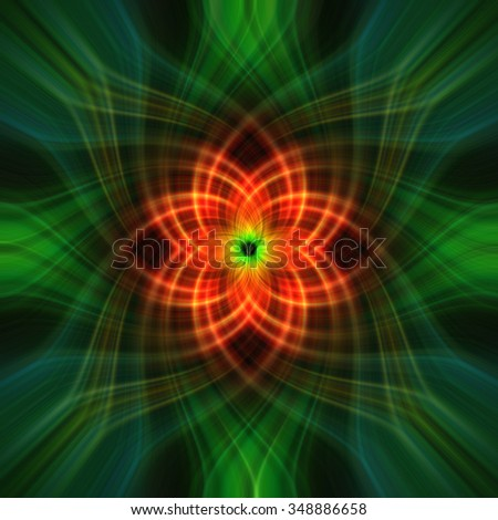 Abstract green multiple fractal heart twirl or floral pattern with orange center - stock photo