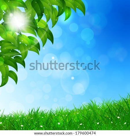 abstract green nature background with leaves and blurry lights