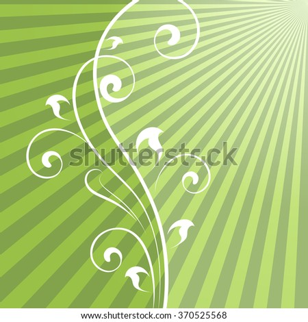 Abstract green rays background with vertical floral dividing element. - stock photo